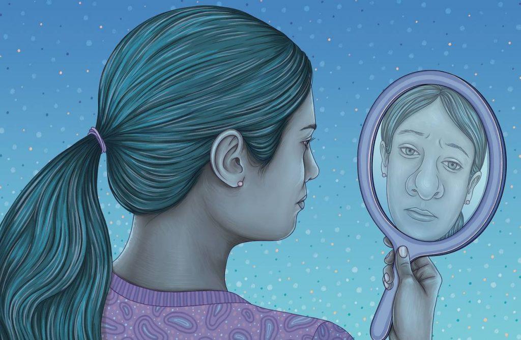 donna naso specchio